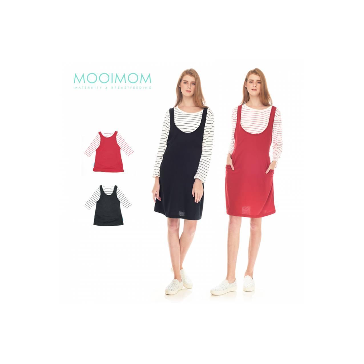 MOOIMOM Long Sleeves Nursing Dress Couple Baju Hamil Menyusui Ibu Anak