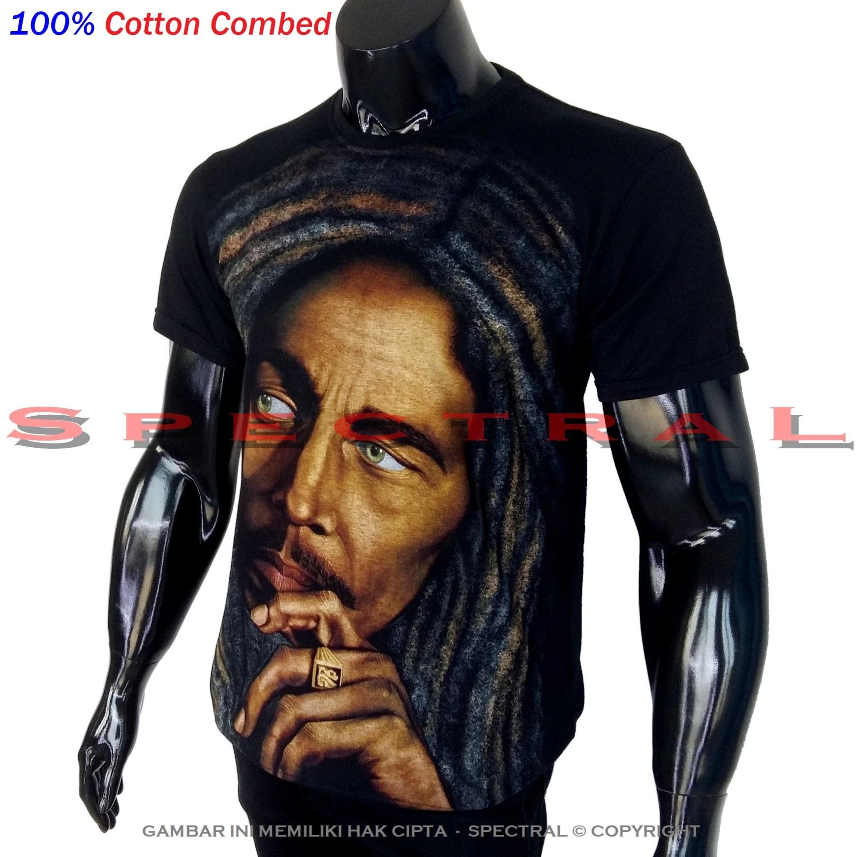 Spectral - Premium 100% Cotton Combed Bob Marley Musik Band Gitar Ganja Rasta Rambut Gimbal Bobmarley