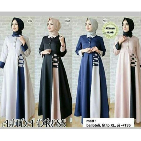 Promo Hanya Hari Ini Afida Dress Gamis Busui Murah Baju Ibu Hamil Bumil Dress Muslimah