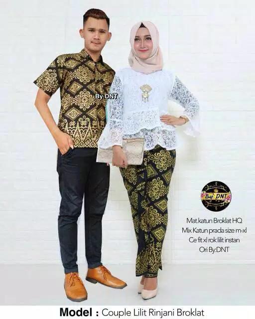 Baju Batik Couple / Batik Couple Modern / Baju Muslim Wanita Terbaru 2018 / Gamis Wanita Terbaru / Batik Lilit Rinjani Broklat Putih