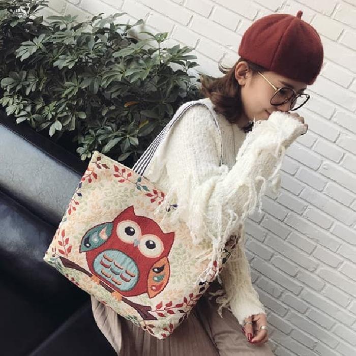 Owl Tote Bag / Tas Selempang Wanita / Tas Motif OWL