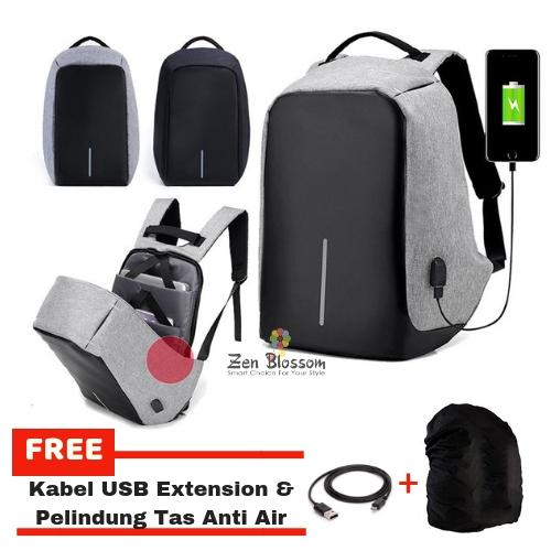 ZenBlossom Tas Ransel Anti Maling Laptop Travel Backpack USB Charger Support Anti Theft Model XD