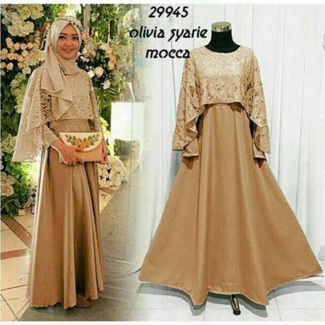 Olivia Syari Dress Gamis Muslimah Murah !! (DUSTY PINK)