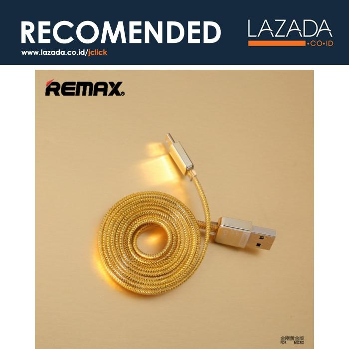 Remax Gold Braided Cable for Smartphone - Panjang Kabel 100 CM - Warna Gold - Tipe Plug Kabel Micro USB