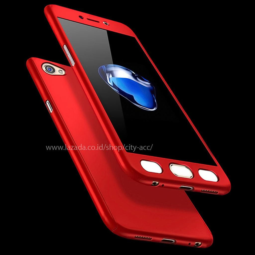 Case Front Back 360 Degree Full Protection for Oppo A57 - Red + Tempered Glass