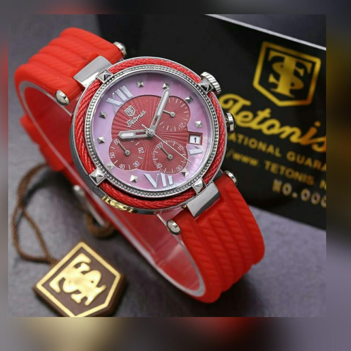 Jam Tangan Tetonis Wanita Gc Leather Model Casual Rubber Strap Chrono On Aktif