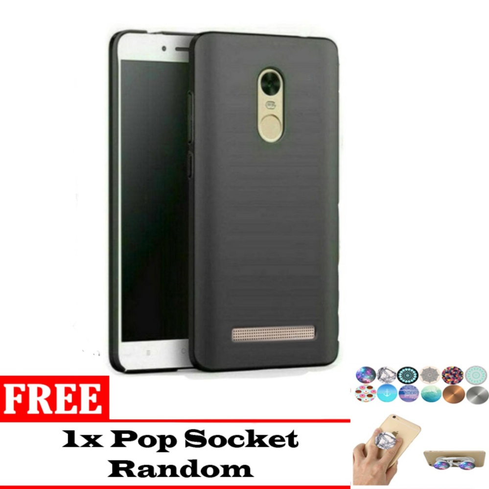 Case Slim Black Matte Xiaomi Redmi Note 3 Softcase (Anti Minyak) Bonus Pop Socket