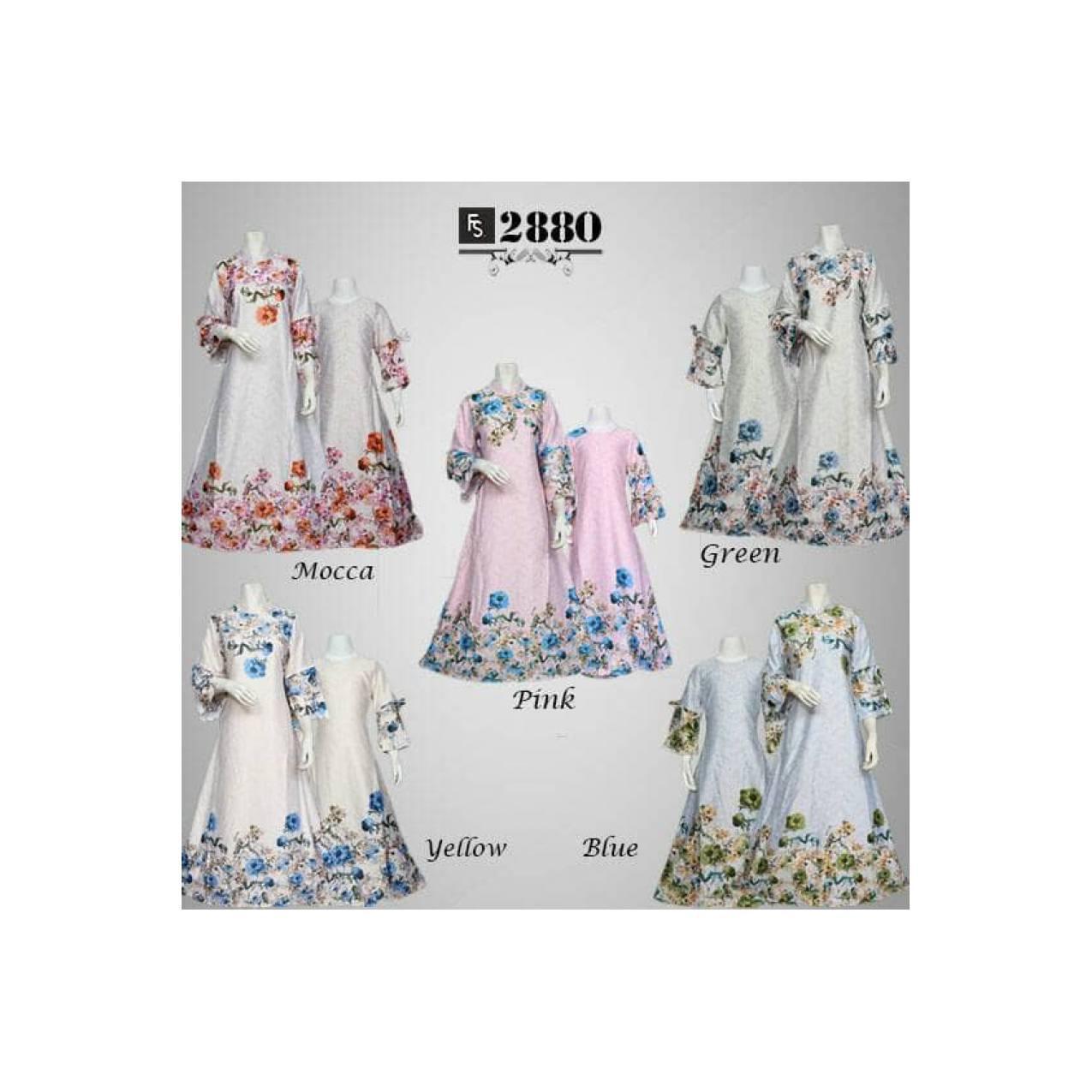 set baju ibu dan anak maxi dress busana muslim gamis couple keluarga