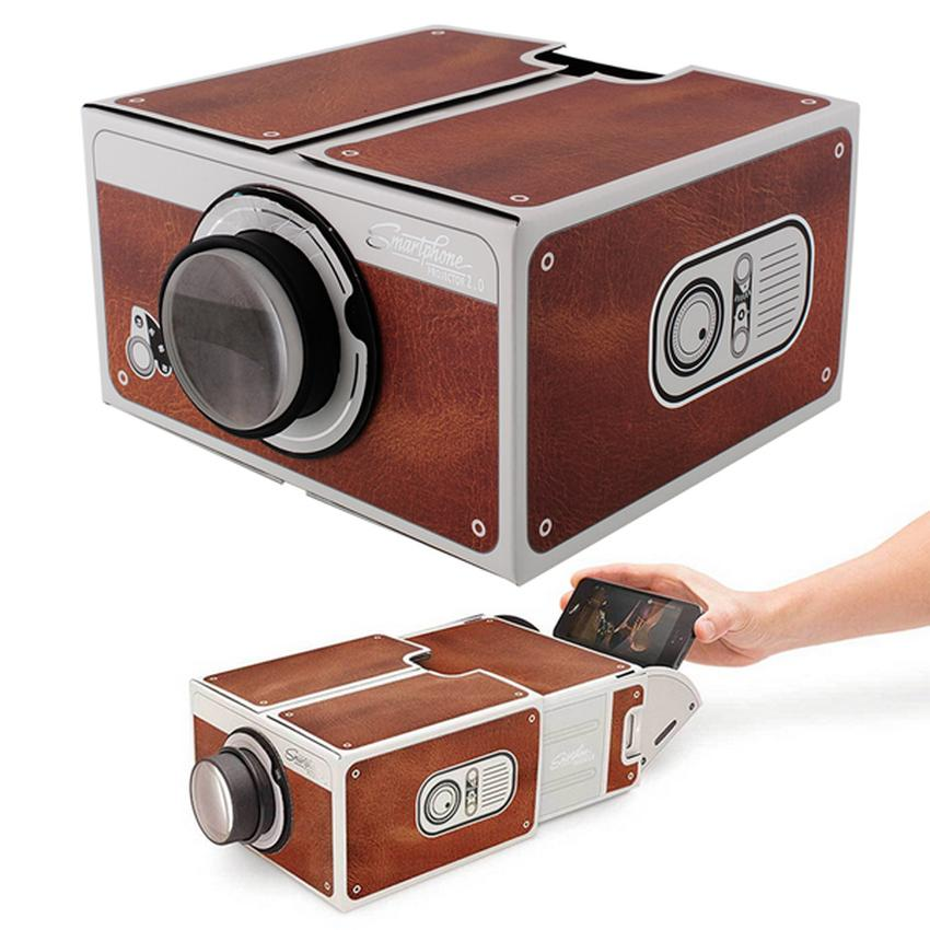 Lasido Projector Portable Smartphone Projektor Proyektor Cardboard 2.0 for  Mobile Phone Movie Presentasi - Coklat e32adc01d0