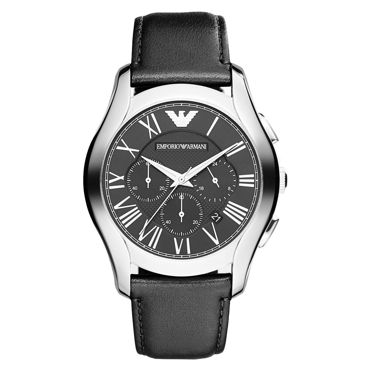Emporio Armani Emporio Armani Valente Chronograph Black Stainless-Steel Case Leather Strap Mens NWT + Warranty AR1700