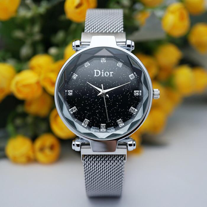 Jam Tangan Wanita Dior Silver Black Rantai Pasir