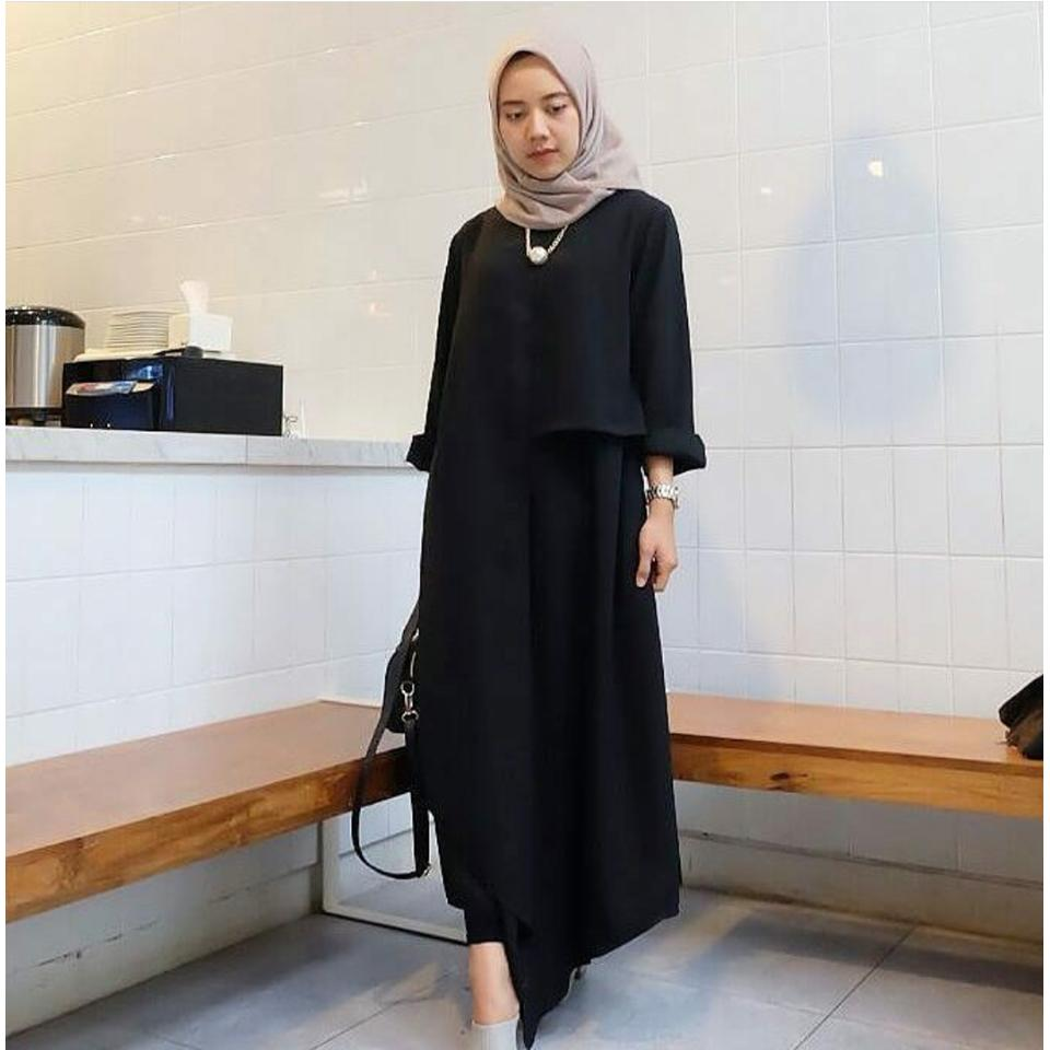 Ria_Store Inul Dress Black // Busana Muslim Wanita MC223 Inul Dress Black // Maxi Dress / Maxi Muslim / Dress Muslim / Busana Muslim / Baju Muslim / Hijab Fashion / Hijab Style - Hight Quality