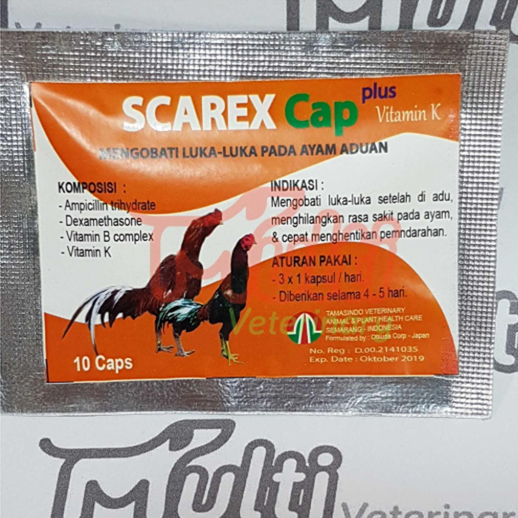 SCAREX Cap plus Vitamin K B complex Mengobati Luka pada Ayam Aduan Adu 10 kapsul