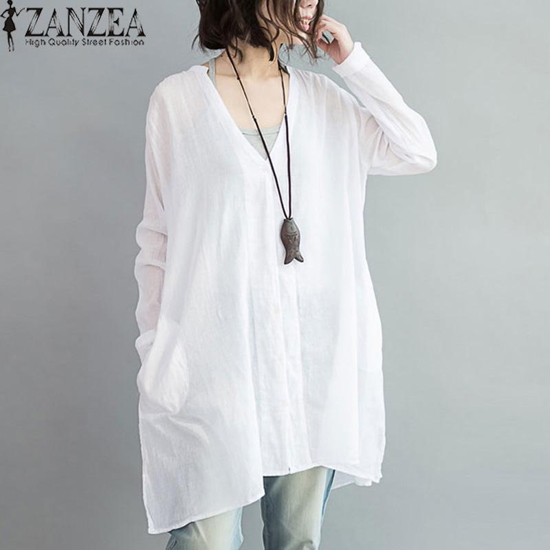 ZANZEA Wanita Terlalu Besar Cotton Linen Tombol V Blusas Leher Lengan Panjang Tidak Teratur Split Musim Gugur Fashion Blus Tops Shirt (Putih) -Intl