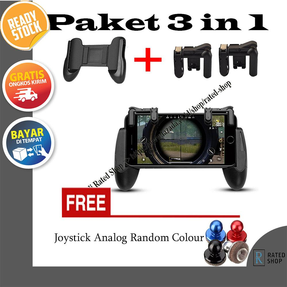 Paket 3 in 1 Gamepad + Shoot Fire Button L1R1 +  Analog Joystick for PUBG,Free Fire,AOV Mobile Lege