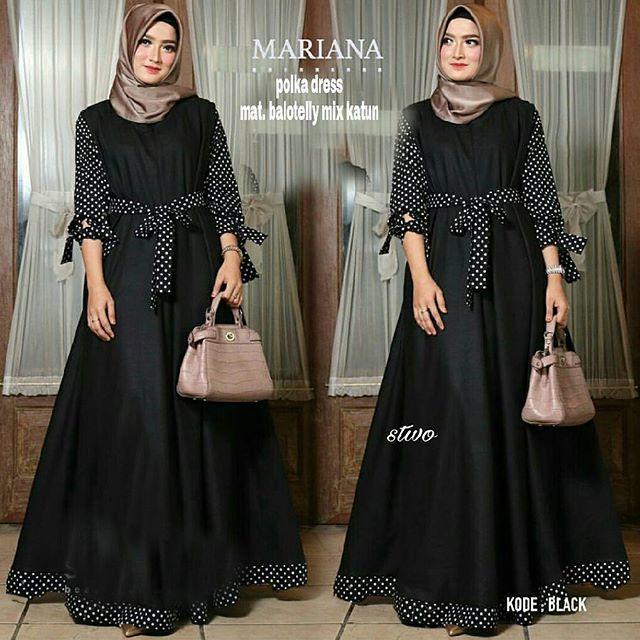 Long Dress Gamis Mariana Tangan Panjang Wanita Dewasa - Gamis polos baloteli / Lengan Plipit Bunga Busana Muslim Wanita Gamis Murah Baju Lebaran Baju Pesta