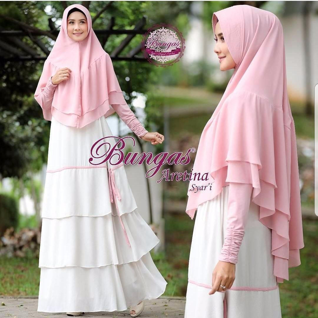 Gamis Aretina Syari Dress Jersey Super Baju + Kerudung Wanita Panjang Muslim Casual Wanita Pakaian Hijab Modern Baju Gaun Pesta Modis Trendy Terbaru 2018