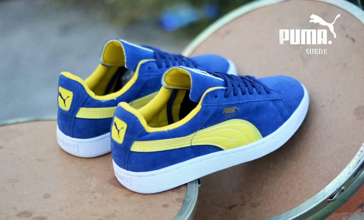 Sepatu Pria Puma Suede Biru Navy List Kuning Terlaris Di LAZADA