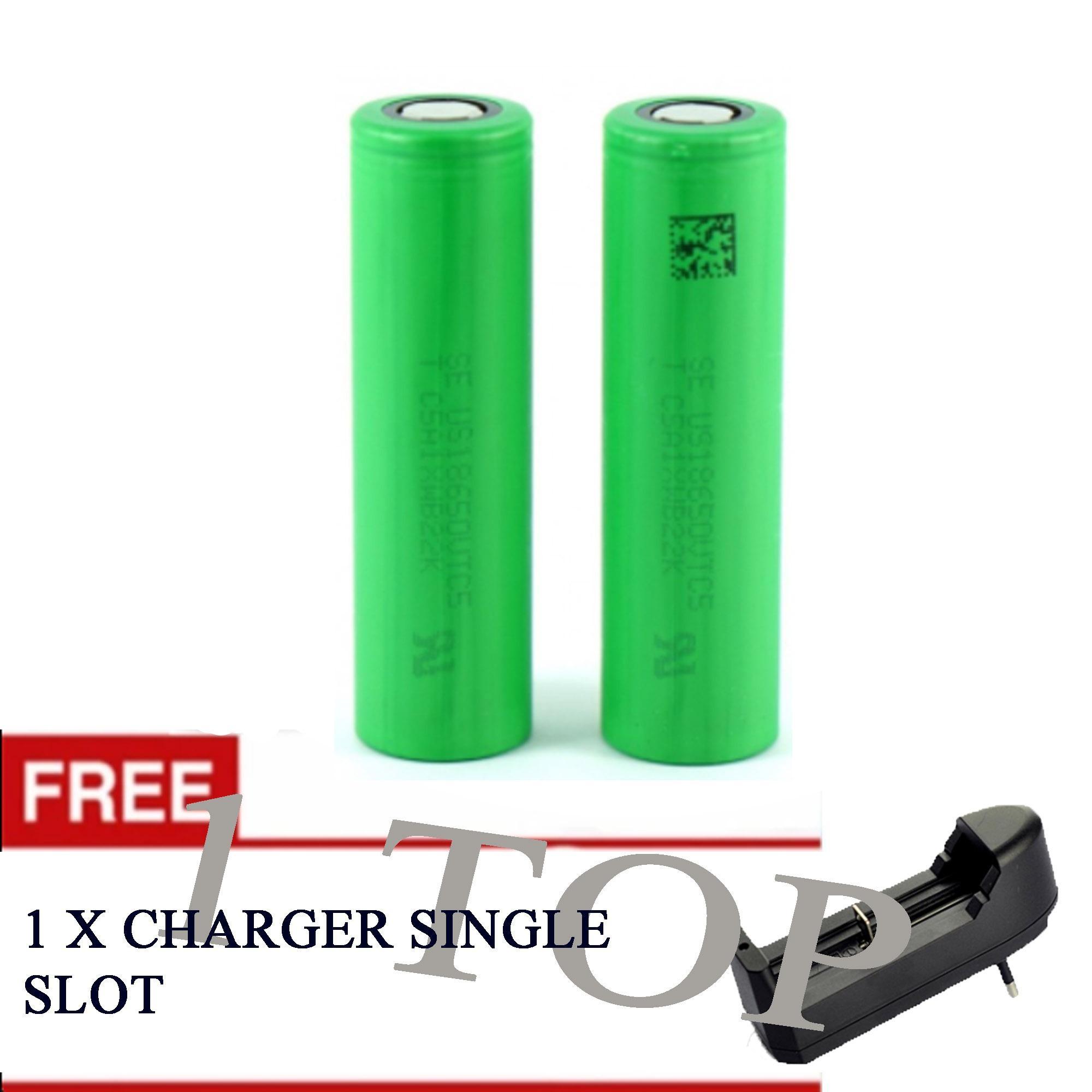 Baterai Rokok Elektrik Sony 2600mAh Mods Vape Vapor Tipe 18650 2600mAh Hijau 2 pcs - Free