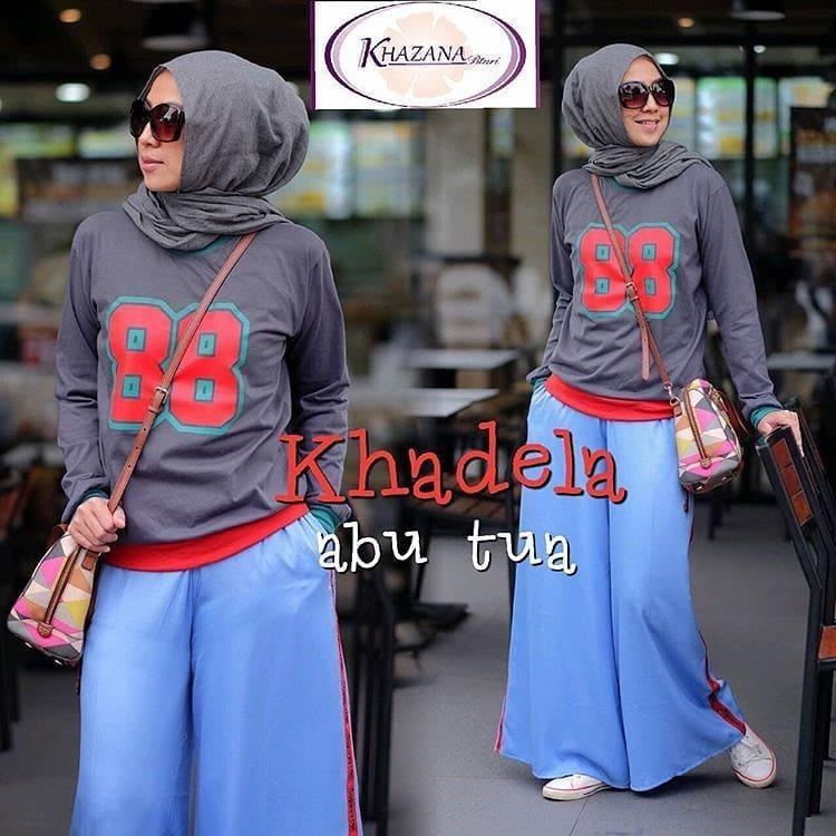 Baju Original Setelan Khadela Set 2in1 Kaos Combad Baju Wanita Hijab Trendy Celana Kulot+ Baju Atasan Panjang Setelan Kekinian Jumpsuit Pesta Muslim Modern Modis Casual Trendy Terbaru