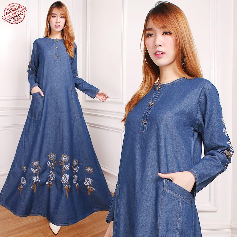 Katalog Gamis Qirani 168 2018 Long Dress Zefanya Collection Maxi Naxai Jeans Wanita