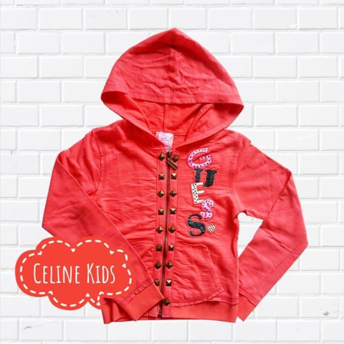 Azka shop kids - Jaket anak cewek  perempuan Guess casual warna merah terbaru