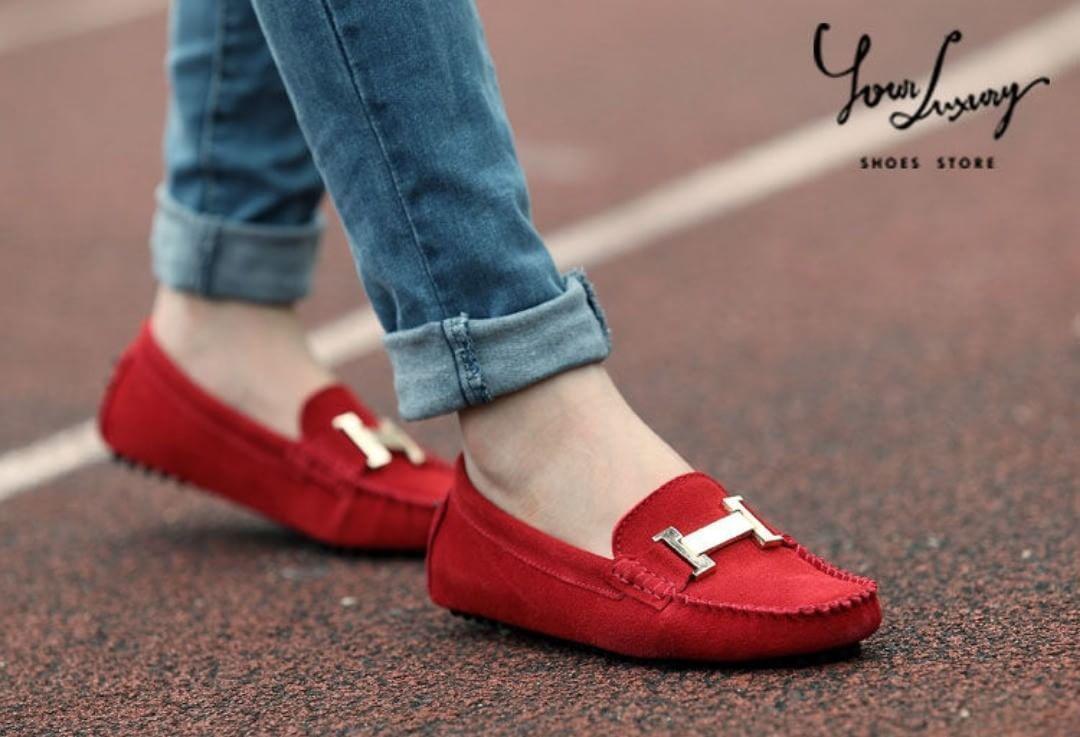 Sepatu Flat Hermes Kerut Merah - sepatu wanita terbaru