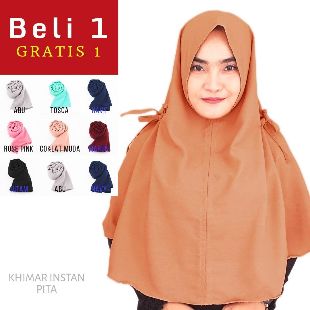 PROMO Beli 1 Dapat 2 Hijab Instan Jilbab Kerudung Khimar Zahra - Jilbab Instan - Kerudung Hijab Khimar Instan