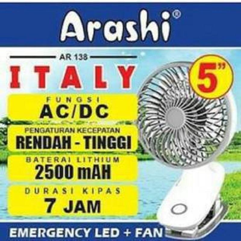 Arashi Kipas Angin 2 in 1 Rechargeable AR138 ( Baterai / AC / DC input Multifungsi )