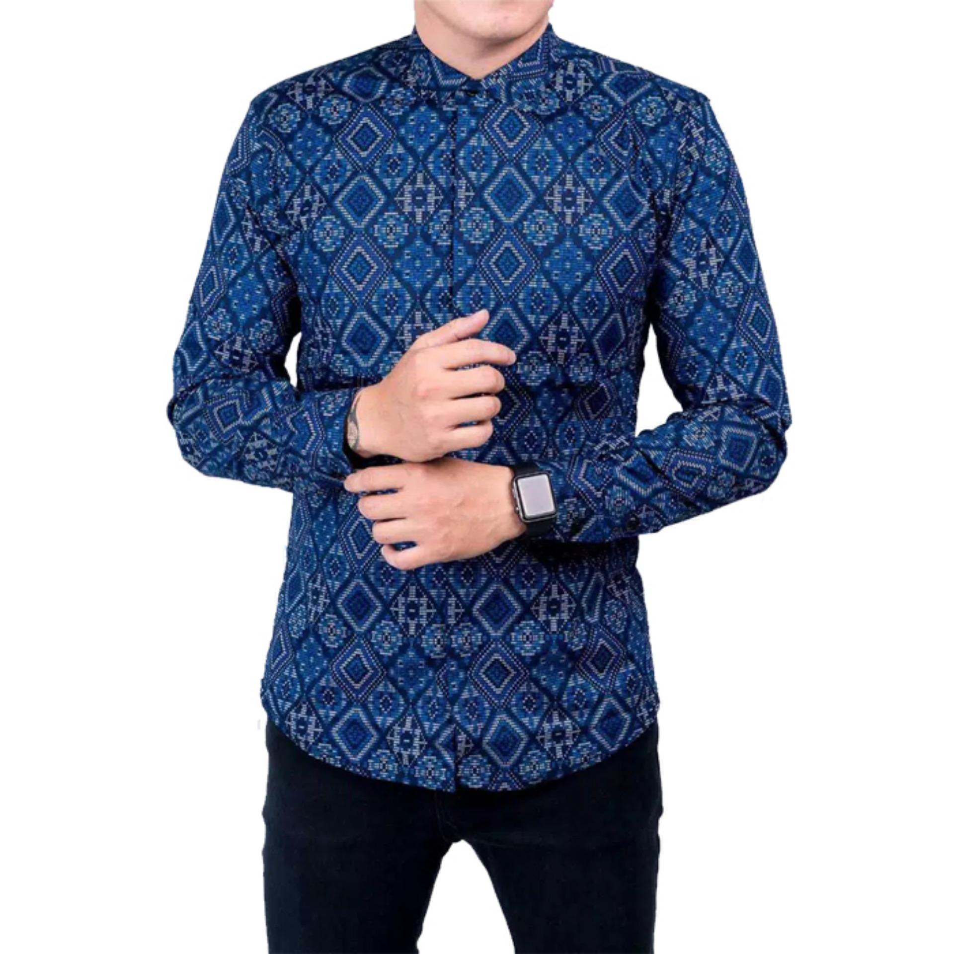 Batik Nagarihardja Kasual Motif Lereng Parang Kombinasi Coklat Produk Ukm Bumn Kembang Kemeja Songket Pria Lengan Panjang Baju Kerja Slimfit Diamond Navy Biru