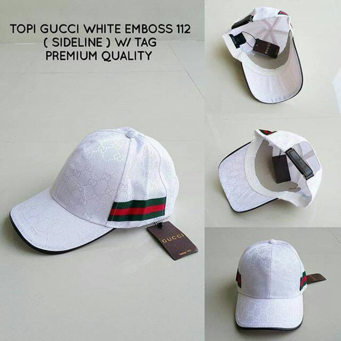 PROMO!!! topi gucci branded putih strip samping