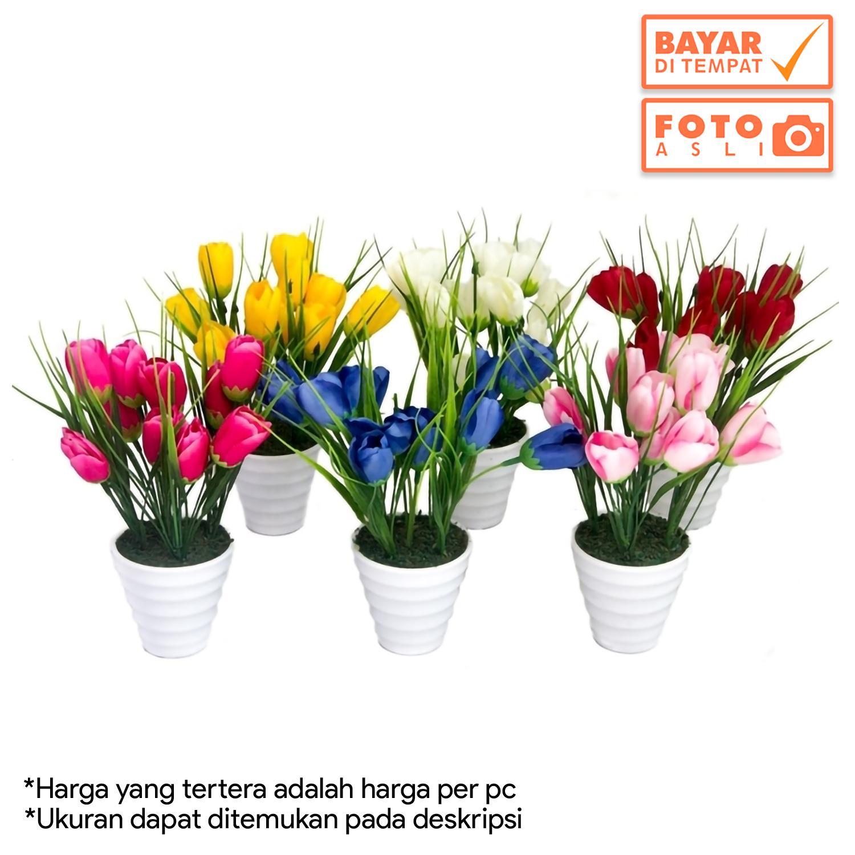 Dekorasi Rumah - Buket Bunga Tulip Artifisial Vas Melamin Murah