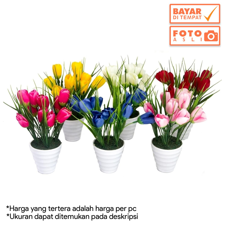 Dekorasi Rumah - Buket Bunga Tulip Artifisial Vas Melamin Murah 259aafe191