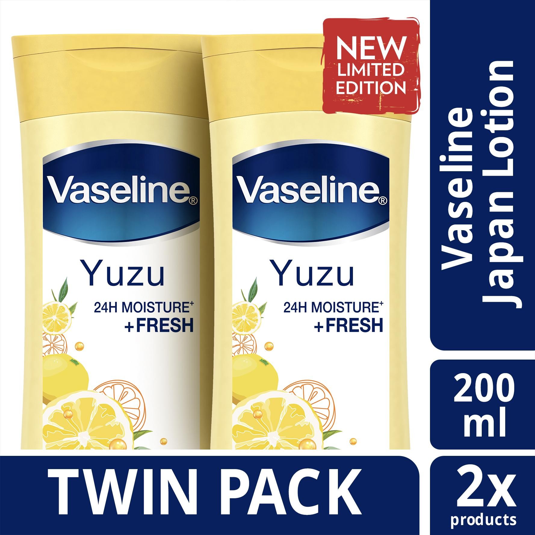 Bath Body Vaseline Lotion Healthy White Perfect 10 200ml Twin Pack Yuzu Limited Edition Jepang