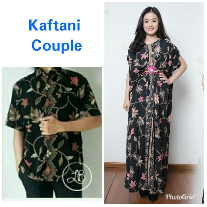 Cj collection Couple batik 2in1 dress maxi panjang gamis kaftan wanita jumbo long dress dan atasan kemeja pria shirt Clara M - XL
