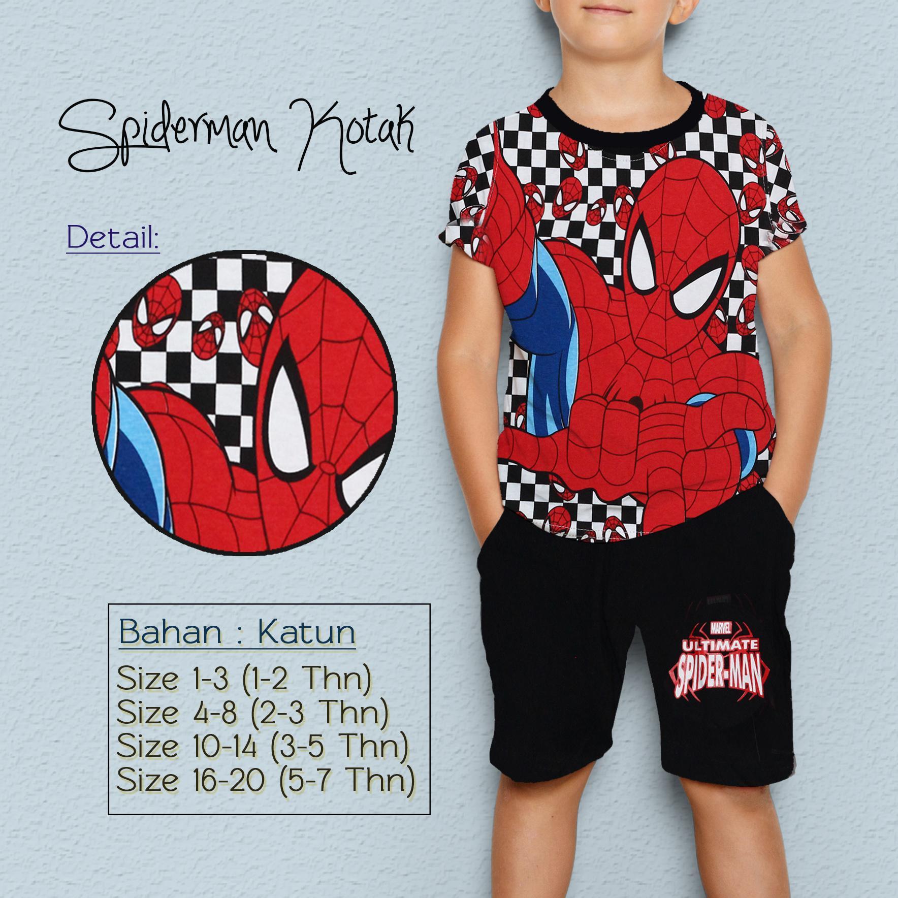 Jual Baju Atasan Anak Laki Setelan Bayi Green Dino Hayami Kaos Cotton Spiderman Kotak