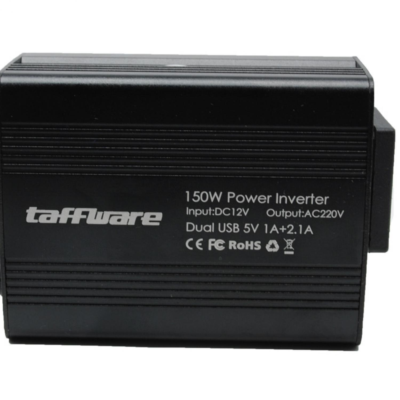 Taffware Power Inverter Mobil dengan 2 USB Port 150W 220V Dual USB Pengubah Arus DC menjadi AC Aksesoris Interior Mobil Car Accessories Charger Cas Gadget Smartphone Laptop Smart Identification Technology Intelligent Cooling Fan s4337 - Black