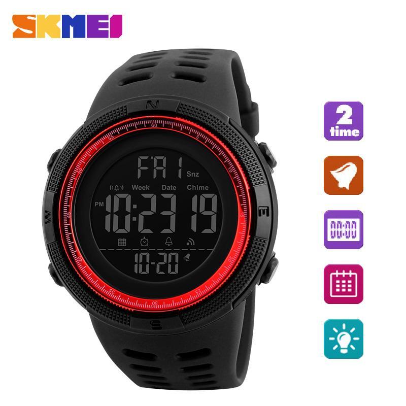 SKMEI  merek Watch pria olahraga Watches Countdown Double Time Watch Alarm Chrono Digital jam tangan 50M Waterproof Relogio Masculino  - intl