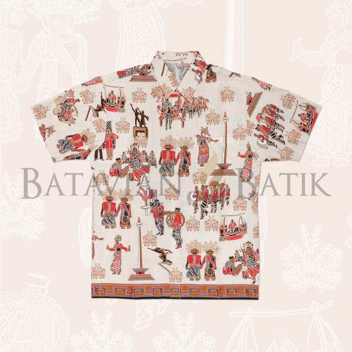 Kemeja Batik Betawi Lengan Pendek  Krem