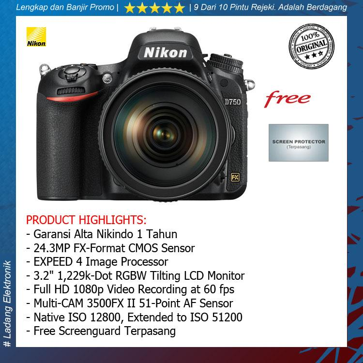 Nikon D750 Kit 24-120mm Kamera DSLR ( Free Screenguard Terpasang ) / Garansi Alta Nikindo 1 Tahun - Original
