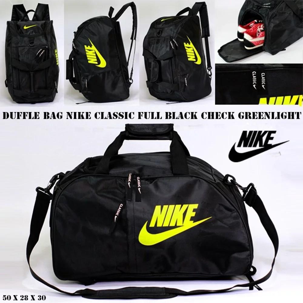 Tas Duffle Bag Nike Classic Full Black Check Greenlight