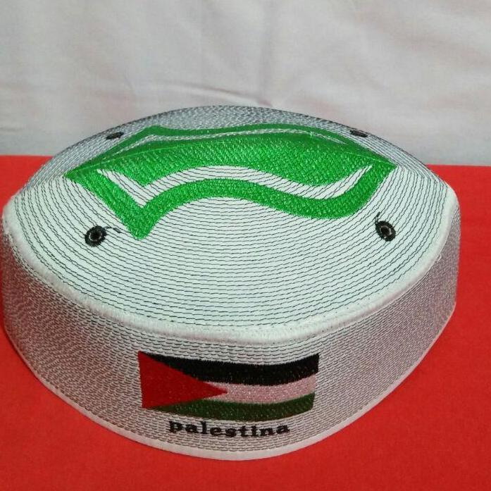 Peci putih motif terompah hijau Palestina bisa COD