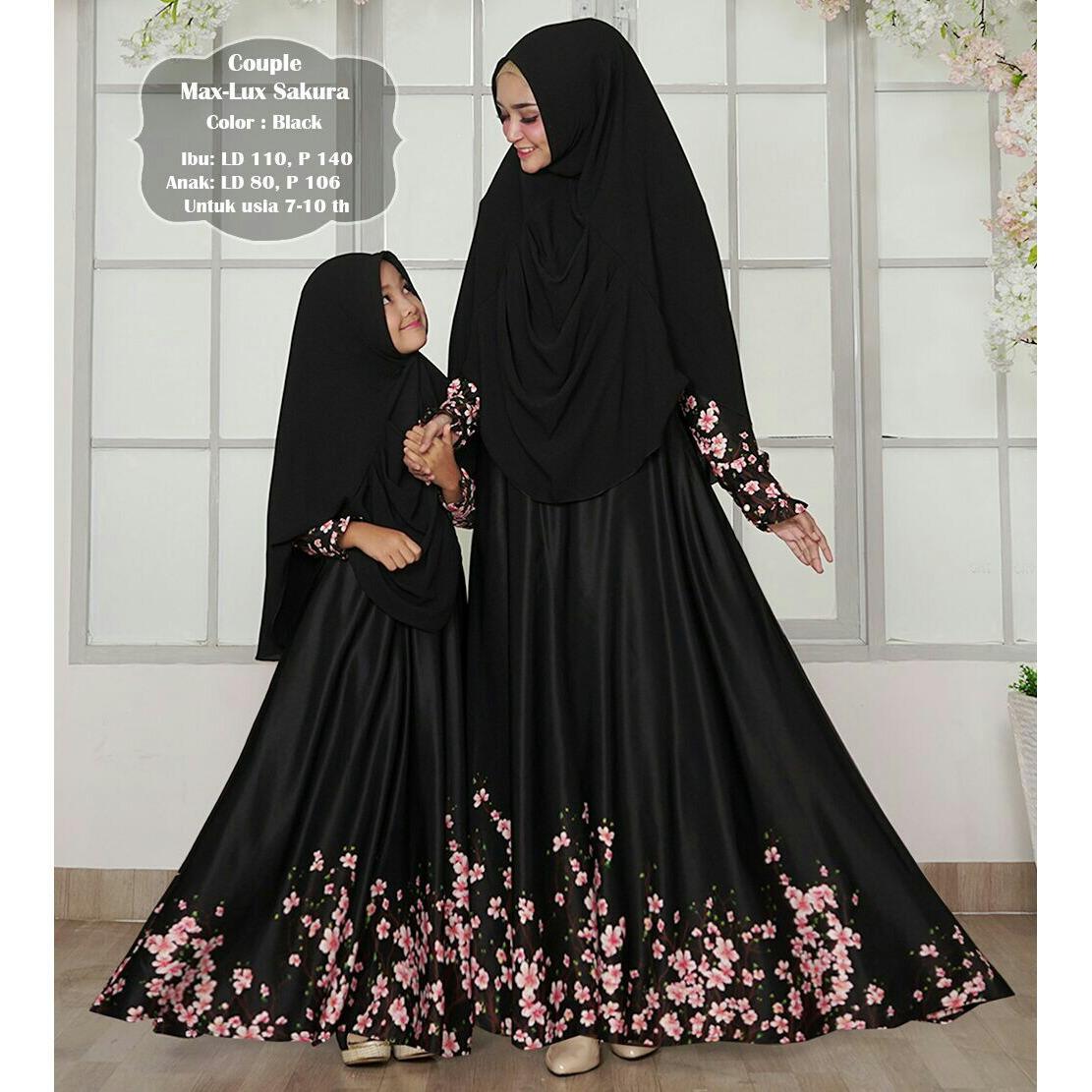 Humaira99 Gamis Syari Muslim Couple Ibu Anak Dress Hijab Muslimah Atasan Wanita Maxmara Sakura