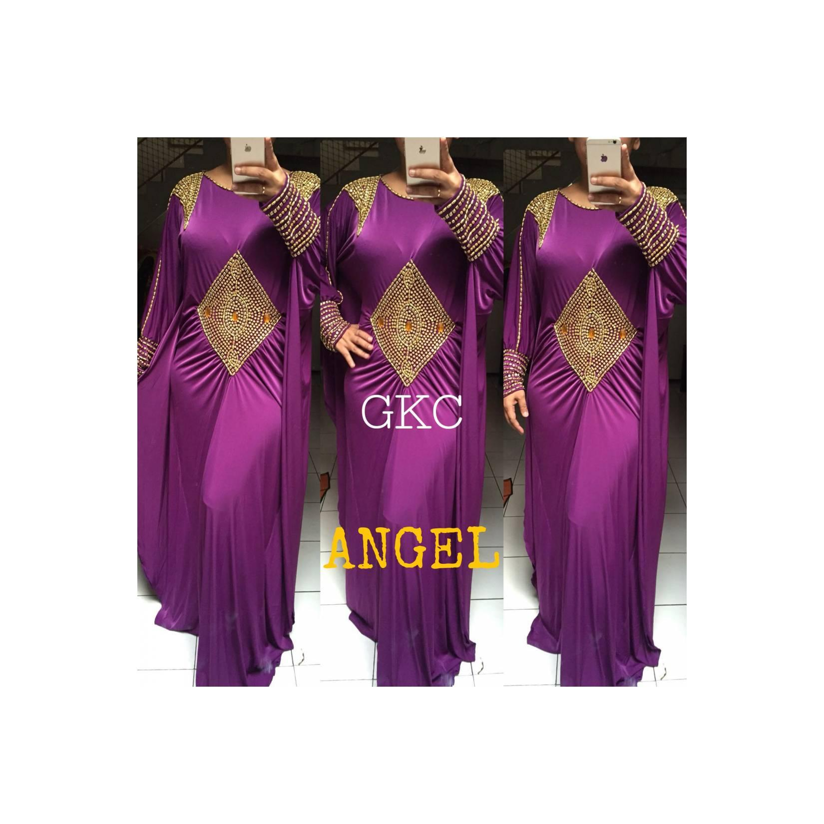 JASA JAHIT KAFTAN SPANDEX MAXI DRESS WANITA MURAH ANGEL PURPLE