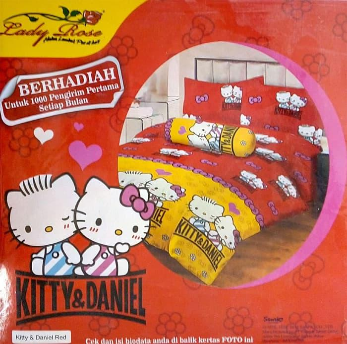 Exclusive Bedcover Lady Rose Disperse 120 - Hello Kitty & Daniel Red