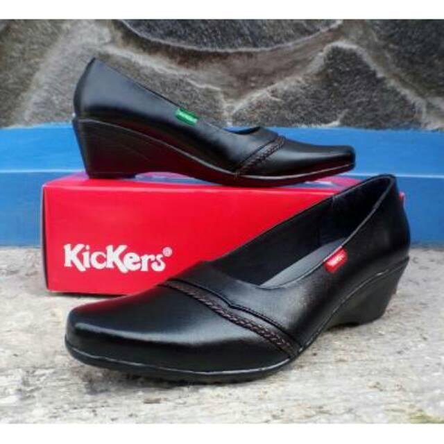 Kickers-Sepatu Pantofel Wanita Formal Kerja Wanita Wedges Kickers Cewek Bahan Kulit Sapi Asli Kode 511