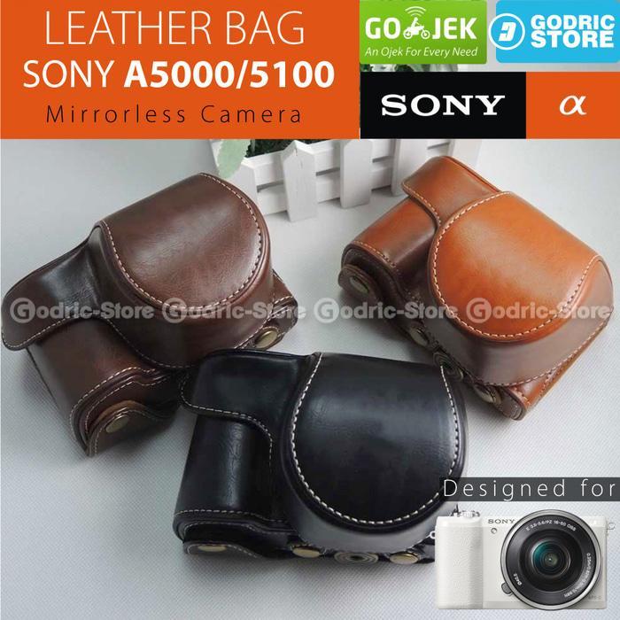 Promo Sony Alpha A5000 / A5100 Leather Bag / Case / Tas Kamera Mirrorless original
