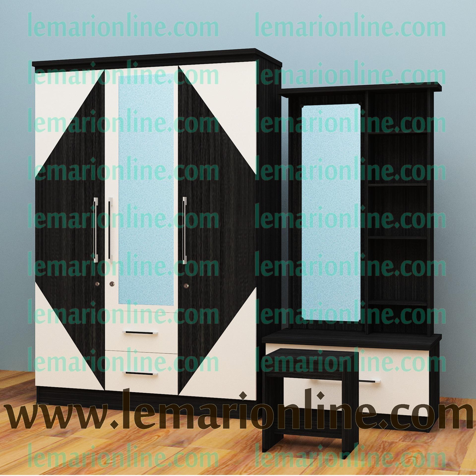 Lemari Pakaian 3 Pintu Cermin & Meja Rias (Paket Gloss)
