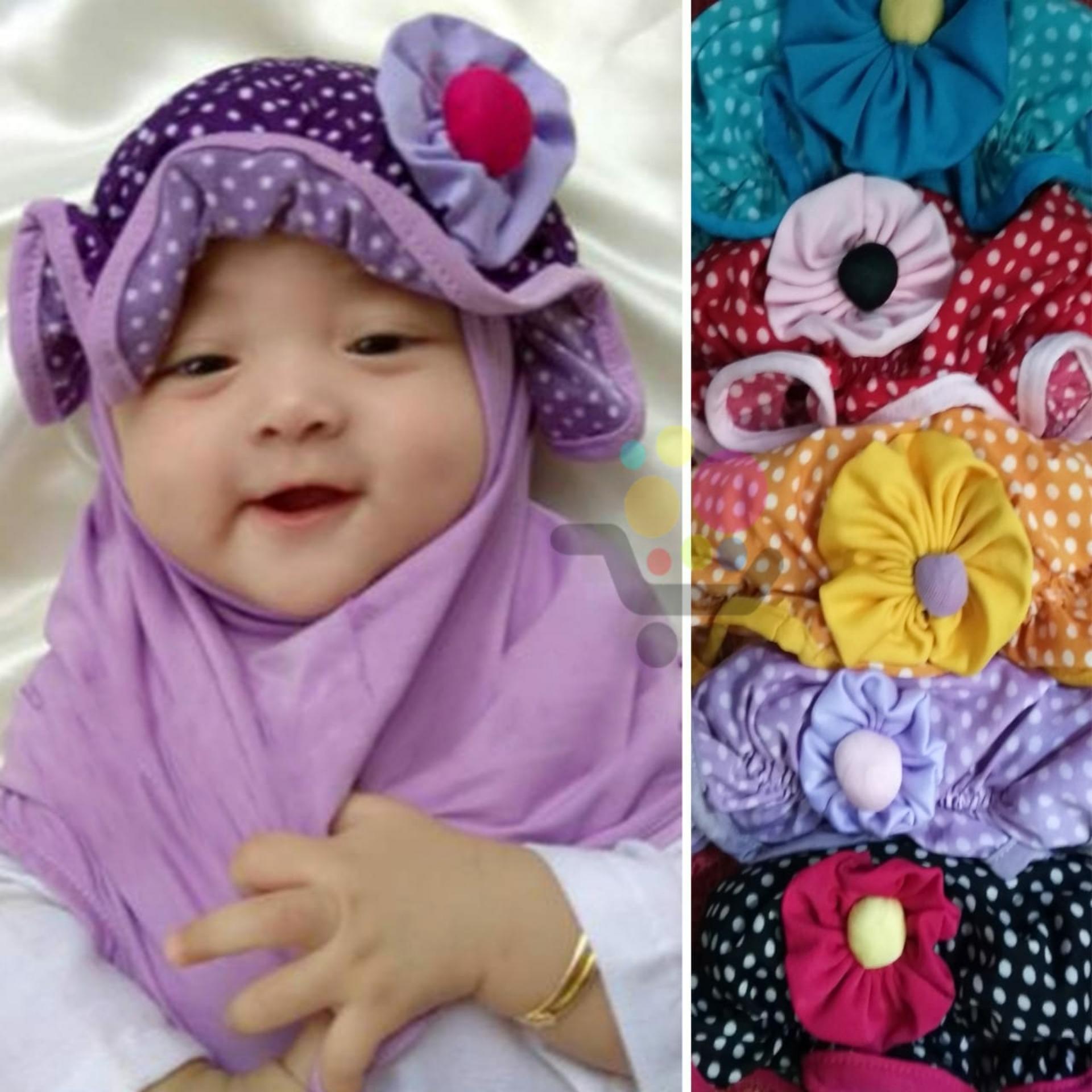 Kerudung polka topi Anak Bayi / Jilbab Anak Bayi / Jilbab Bayi / Hijab Pashmina Instan