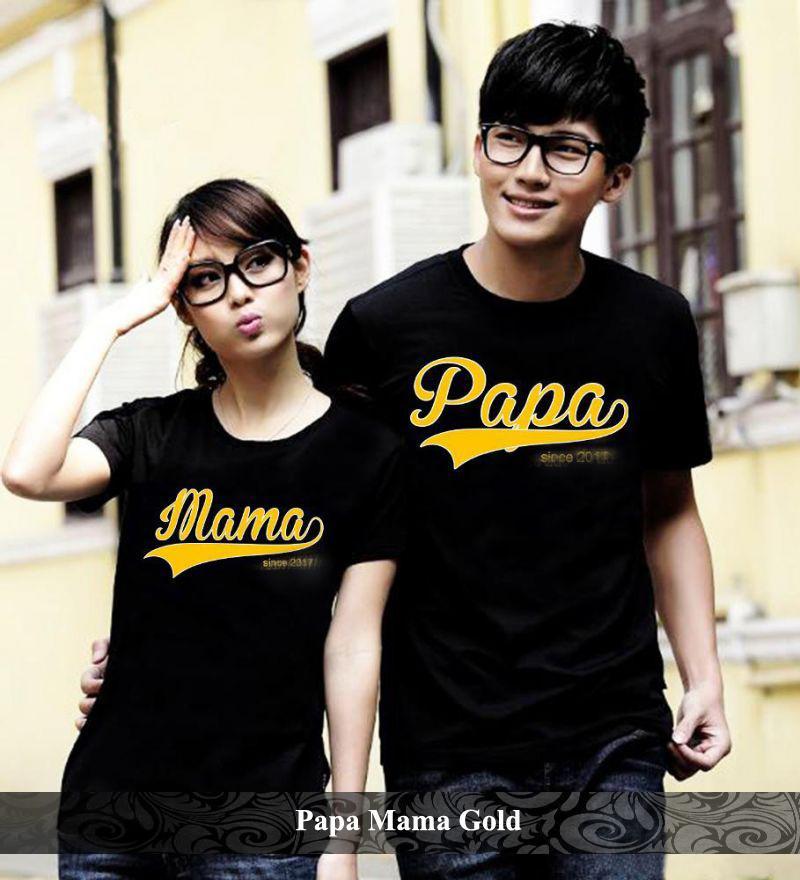 BajuCouple baju kaos couple tshirt pasangan terbaru Kaos Couple Papa Mama Gold [hitam]